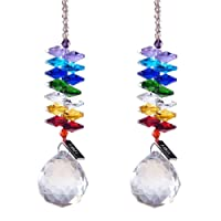 H&D 30mm Chandelier Crystals Ball Prisms Rainbow Octogon Chakra Suncatcher for Gift,pack of 2