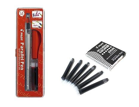 Set 1 Schönschreibfüller Pilot Parallel Pen plumin 1.5 mm Akku + Box mit 6 Ersatzminen schwarz PILOT Parallel Pen
