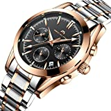 Mens Stainless Steel Chronograph Watches Men Waterproof Date Luxury Dress Wrist Watch with Rose Gold Case