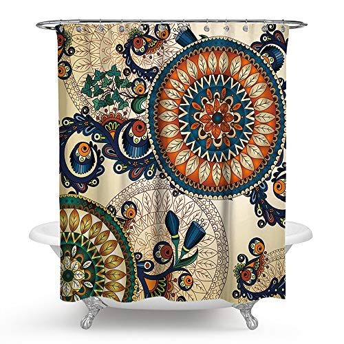 PHNAM Mandala Shower Curtain with Hooks 72x72 Inches Extra Long Waterproof Decoration Polyester Cloth Bath Curtains Sets for Bathroom, Bathtub (E) (Curtain Shower Tapestry)