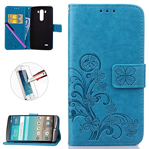 LG G3 Case, [Card Slot][Kickstand] - ISADENSER Premium Embossed PU Leather Wallet Case with Card Slots for LG G3+ 1pcs Tempered Glass Screen + 1pcs Stylus Pen (Clover Blue)