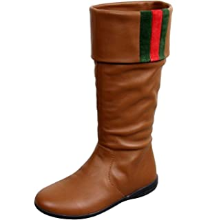 Gucci Unisex Brown Leather Kids Signature Web Detail Boots 285230 (29 G    12 US 7530e582f96