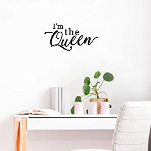 """Vinyl Wall Art Decal - I'm The Queen - 11"""" x 21.5"""" - Chic Girly Trendy Sassy Cute Cursive Women's Humor Home Bedroom Living Room Closet Bathroom Work Office Decoration Quote"""