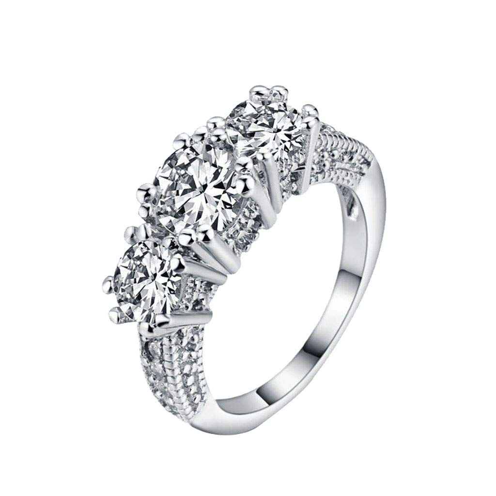 5 Onefa European and American Fashion Wild Fashion Trend Inlaid Zircon Silver Three Diamond Ring Ladies Jewelry Suitable for Wedding New Zircon Silver Ring Party