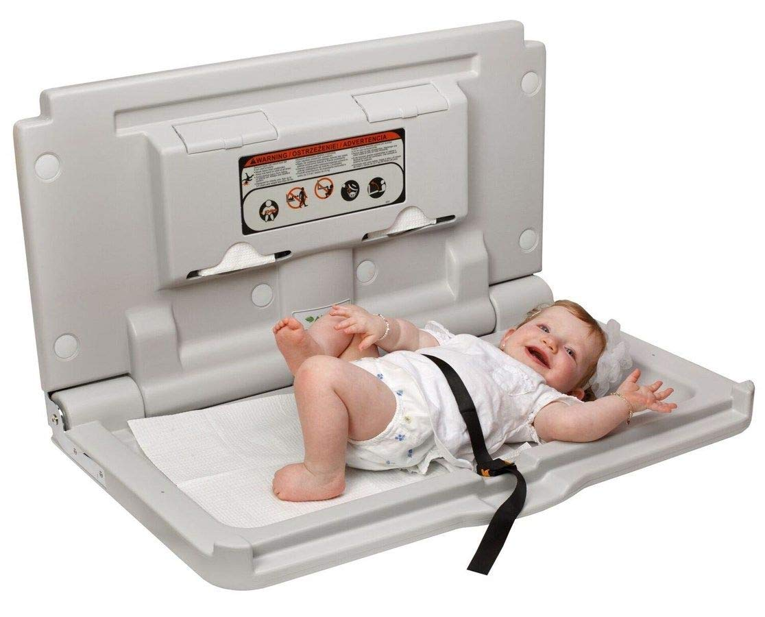 Space Saving, Sleek, Modern, Easily Cleaned, Industries Horizontal Wall Mounted Fold Down Baby Changing Station, Secure Safety Belt