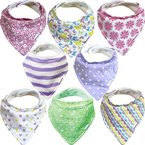 Baby Bandana Bibs For Girls – 8 Pack Baby Drool Bib Gift Set, Organic Cotton, 3 Snaps To Fit All Neck Sizes, Soft, Extra Absorbent, Easy To Clean, Perfect Baby Shower Gift Set