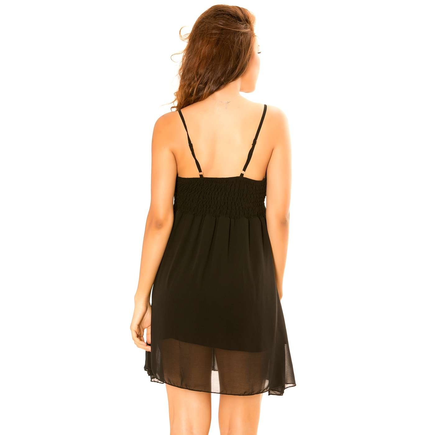 38ce1a99c22 Miss Wear Line - Robe Noire col v à Bretelle Robe en Voilage doublée avec  Froufrou au col  Amazon.fr  Vêtements et accessoires