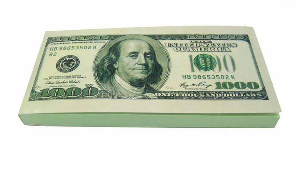 $1000USD Dollar Bill Neuheit Schreiben Note Pad Note Book BDE
