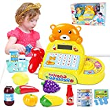 Cash Register Toy Electronic Calculator for Kids with Scanner, Pretend Play Food and Little Shopping Basket Grocery Play Set Math Teaching Age 3+ – Realistic Sound & Action