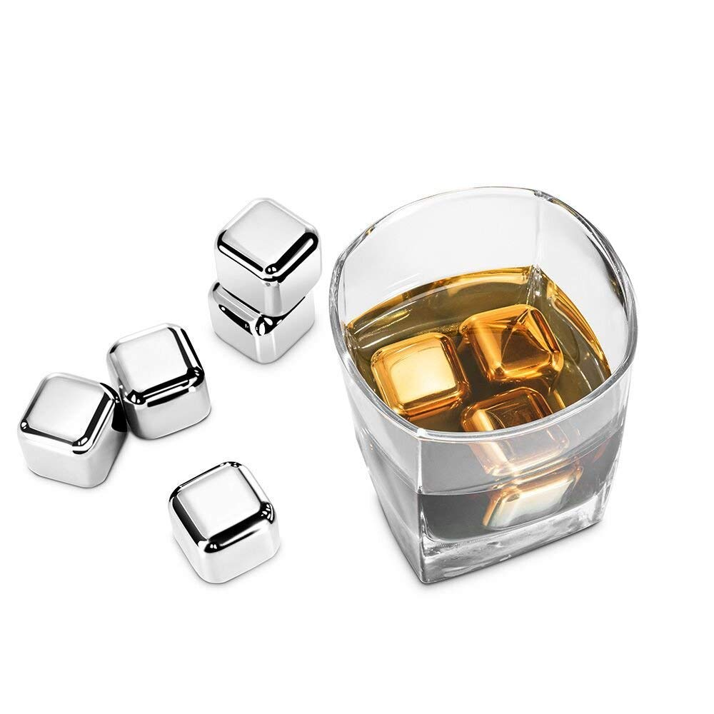 ZAMO Whiskey Stones-Pack of 8 Stainless Steel Reusable Ice Cubes Chilling Stones with Tongs for Whiskey and Drink.