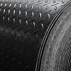 "Trailer Diamond Plate Pattern Flooring | Black | 8' 2"" Wide | Rubber Flooring | Garage Flooring | Gym Flooring | Toy Hauler Flooring | Car Show Trailer Flooring (15')"