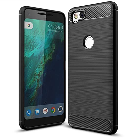new styles aebdc a8e51 Suensan Pixel 2 Case, Google TPU Shock Absorption Technology Raised Bezels  Protective Case Cover - Black