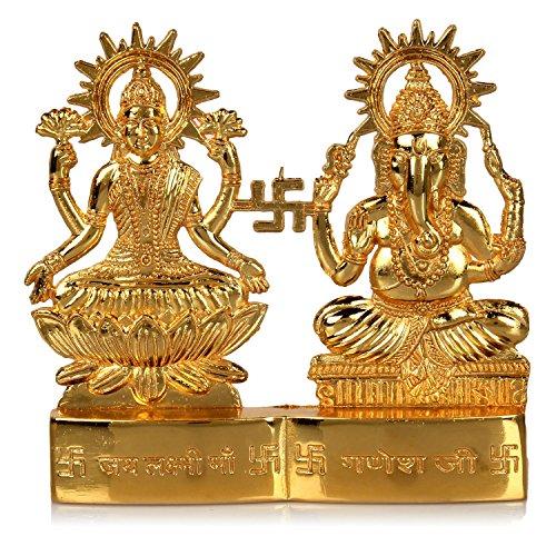 Hashcart Hindu God Lakshmi Ganesh Metal Figurine Idol Set Statue Gift for Home/Décor/ Pooja/Wedding/ Anniversary/House Warming, 4 Inch