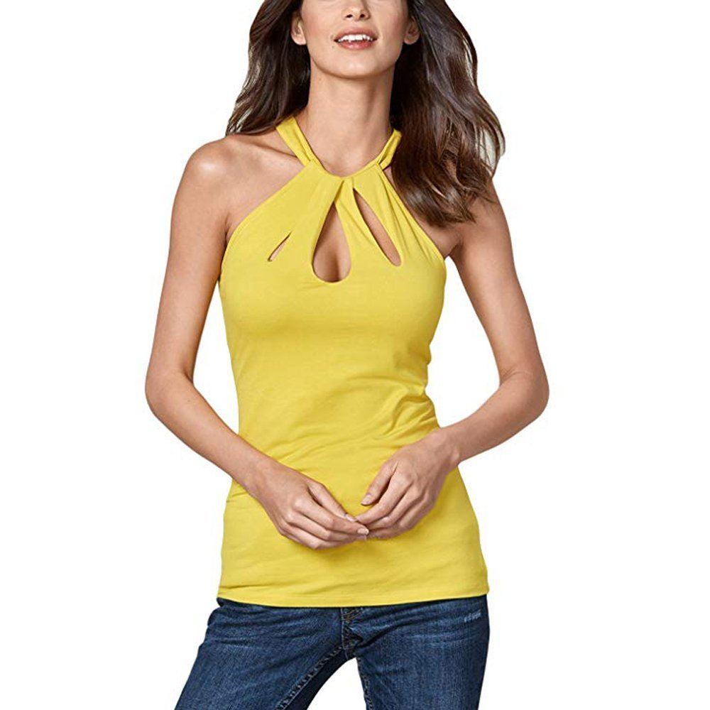 Quavey Women's Sleeveless Sexy Tank Tops Halter Cut Out Keyhole Back Blouse Loose Summer T-Shirt(Yellow,m)
