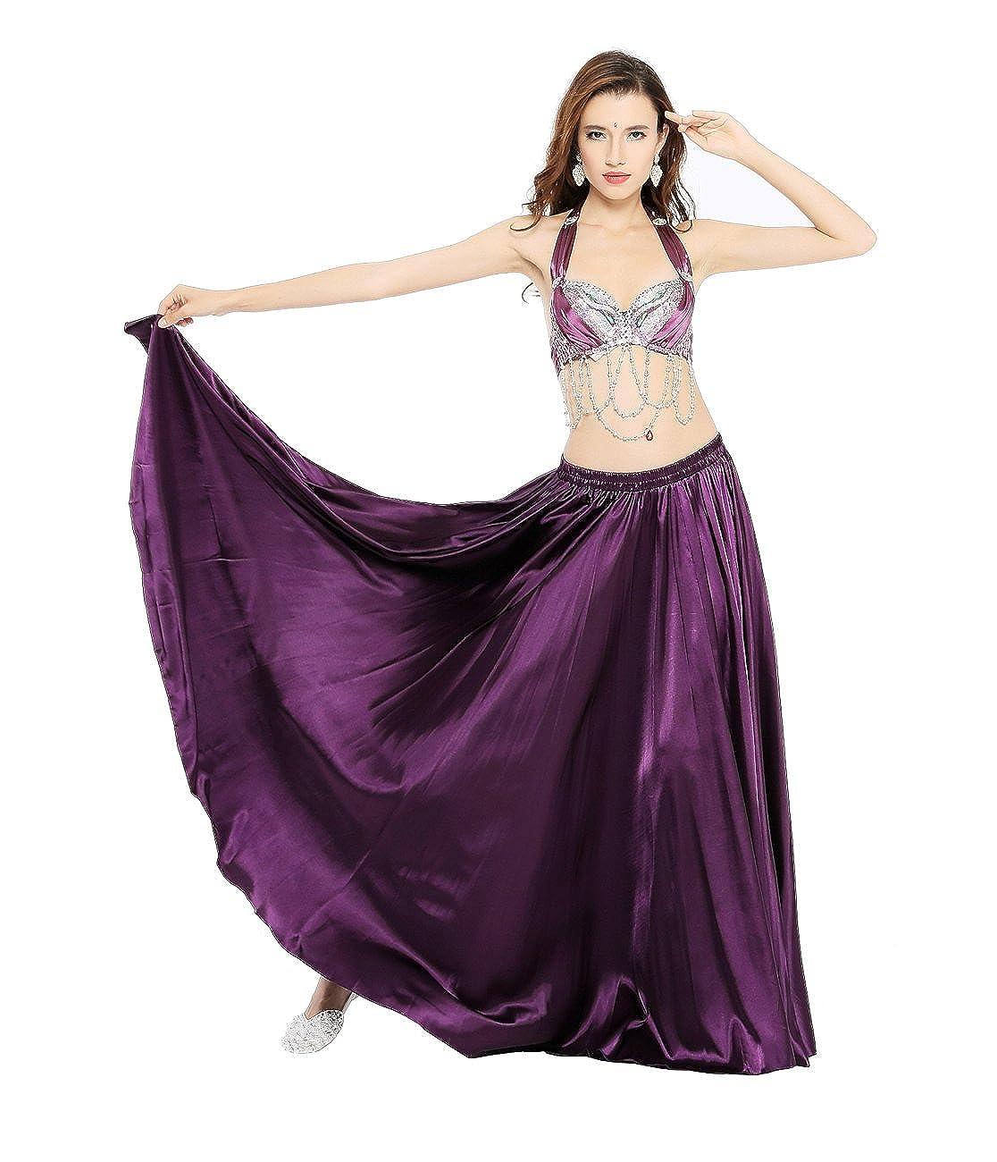 6f7c97bf035 Amazon.com  Dance Fairy Belly Dance Satin Long Skirt