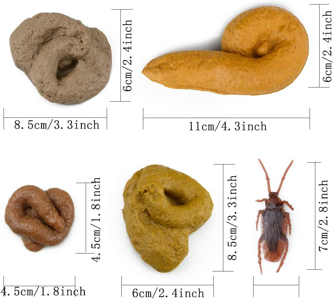 Pranks Toys Gag Gift Realistic Mischief Novelty Toys for Joke Trick Halloween April Fool/'s Day Party Pack of 4 and Fake Roach BeautyChen Fake Poop Fake Shit Pack of 20