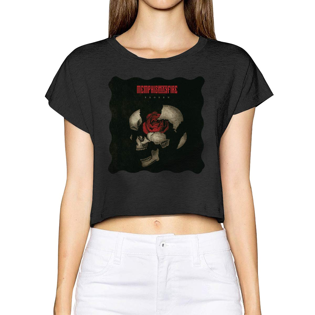 Cjlrqone Memphis May Fire Woman Fashion Leak Navel T-Shirt Black