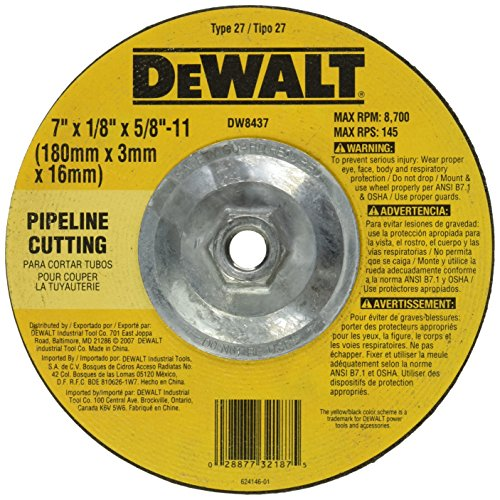 (DEWALT DW8437 7-Inch by 1/8-Inch by 5/8-Inch-11 Pipeline Cutting Wheel)