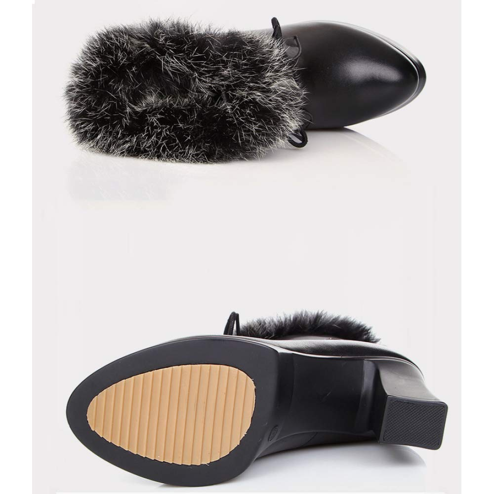 Damen Mid Block Heel Heel Heel Leder REIT Stiefeletten Lace-Up Kunstpelz Futter Warm Verdicken Casual Work Office Stiefelies Schuhe 2d1873