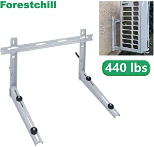 Forestchill Wall Mount Bracket with Cross Bar, fits Mini Split Ductless Outdoor Unit Air Conditioner Condensing Unit Heat Pump System Condenser, Universal, Support up to 440lbs, 18000-36000BTU