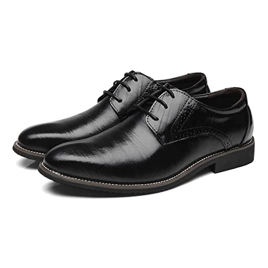 Shoes Men's Shoes Spring Fall Formal Shoes For Office & Career Party & Evening Blue Brown Black (Color : Black Size : 43)