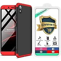"""Kit Capa Capinha Anti Impacto 360 Full Para Xiaomi Redmi 7a Com Tela 5.45"""" Polegadas - Case Acrílica Fosca Com Película De Vidro Temperado - Danet (Preto com vermelho)"""