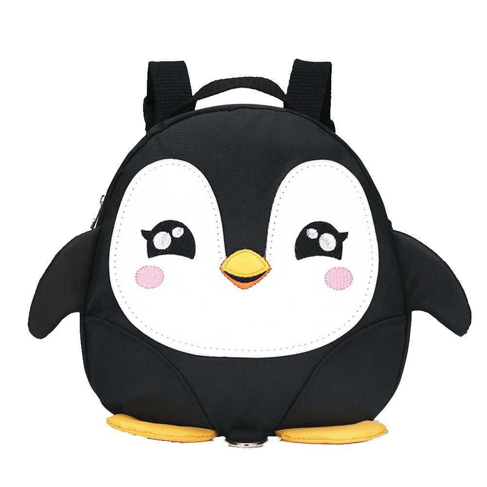 Black 2017 New Style Cute Cartoon Penguin Mini Backpacks with Safety nylon tape for 1-3 Years Old Baby Toddler Walking Safety Backpack Little Kid Boys Girls Anti-lost Travel Bag