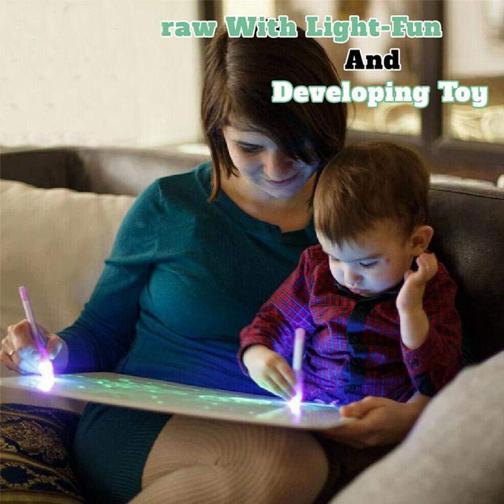almohadilla de dibujo luminiscente iluminada tableta de escritura divertida y desarrollando juguete luminoso tablero de dibujo con bol/ígrafo m/ágico para ni/ños peque/ños regalo Pizarra de dibujo