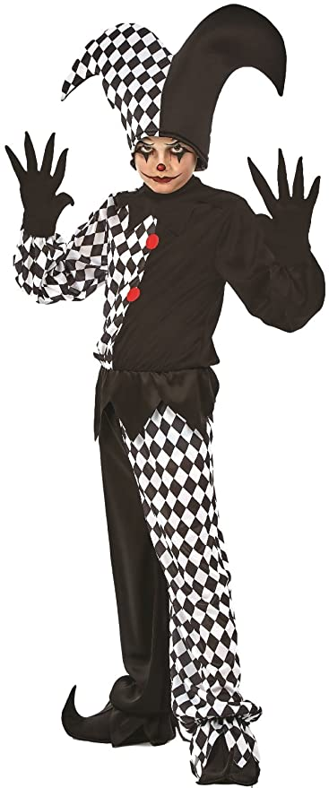 804149f07ccf9 Boys Girls Kids Harlequin Jester Clown Circus Halloween Horror Scary Fancy  Dress Costume Outfit (6-8 years)