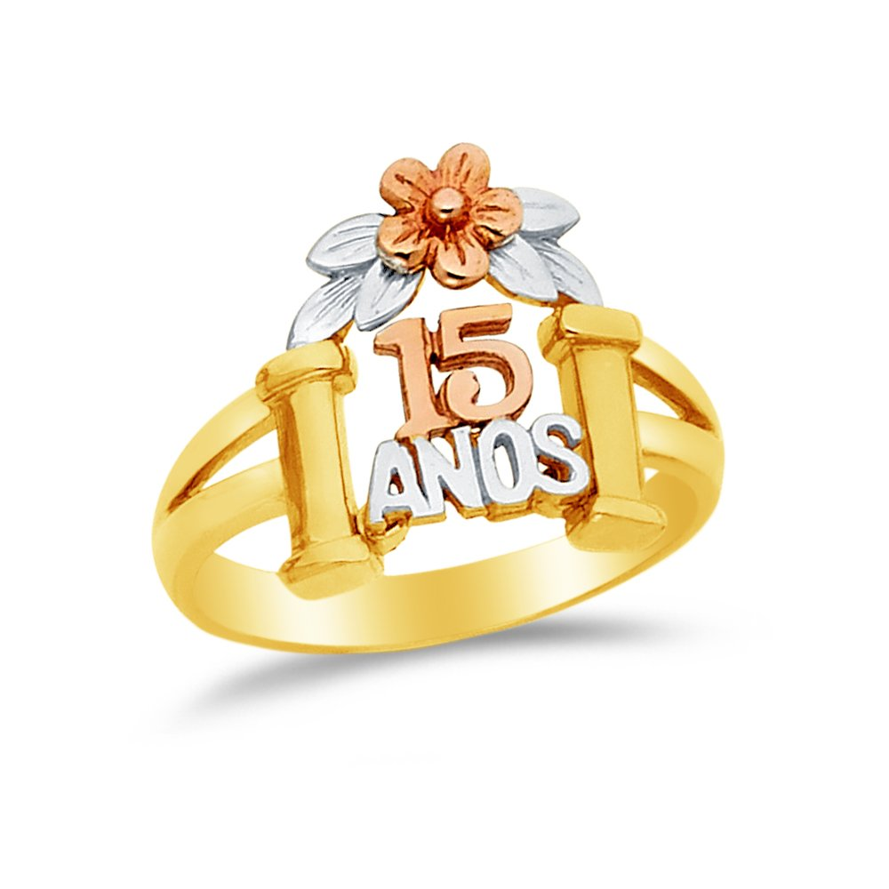 4.5 Jewel Tie Solid 14k Rose Yellow /& White Gold 15 Years Birthday Flower Ring Size