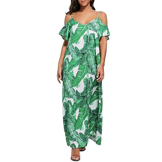 128ce21645e Longay Women Tank Spaghetti Strappy Long Dress Green Leaf Prints Swing  Flattering Maxi Dress (S