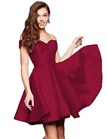 329503bab Gricharim Off Shoulder Homecoming Dresses 2019 Short Satin A-Line Prom  Party Gowns Burgundy US2