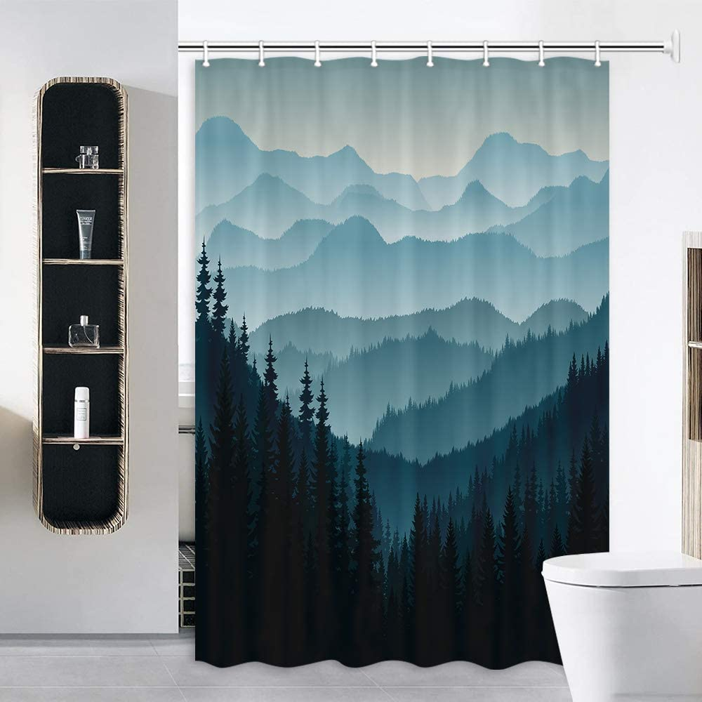 JAWO RV Shower Curtain for Camper Trailer Camping Bathroom, Watercolor Pine Trees, Stall Shower Curtain with Hooks Set, 47x64Inch
