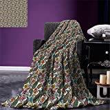 smallbeefly Hippie Digital Printing Blanket Retro Style Arabian Iranian Flourish Classical Growth Lively Tones Hippie Culture Summer Quilt Comforter Multicolor