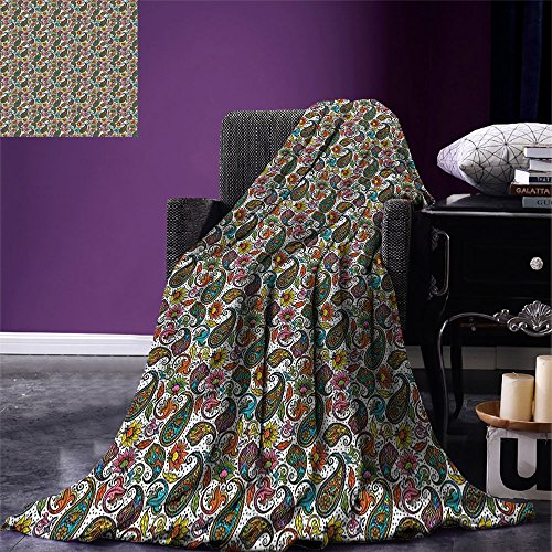 smallbeefly Hippie Digital Printing Blanket Retro Style Arabian Iranian Flourish Classical Growth Lively Tones Hippie Culture Summer Quilt Comforter Multicolor by smallbeefly