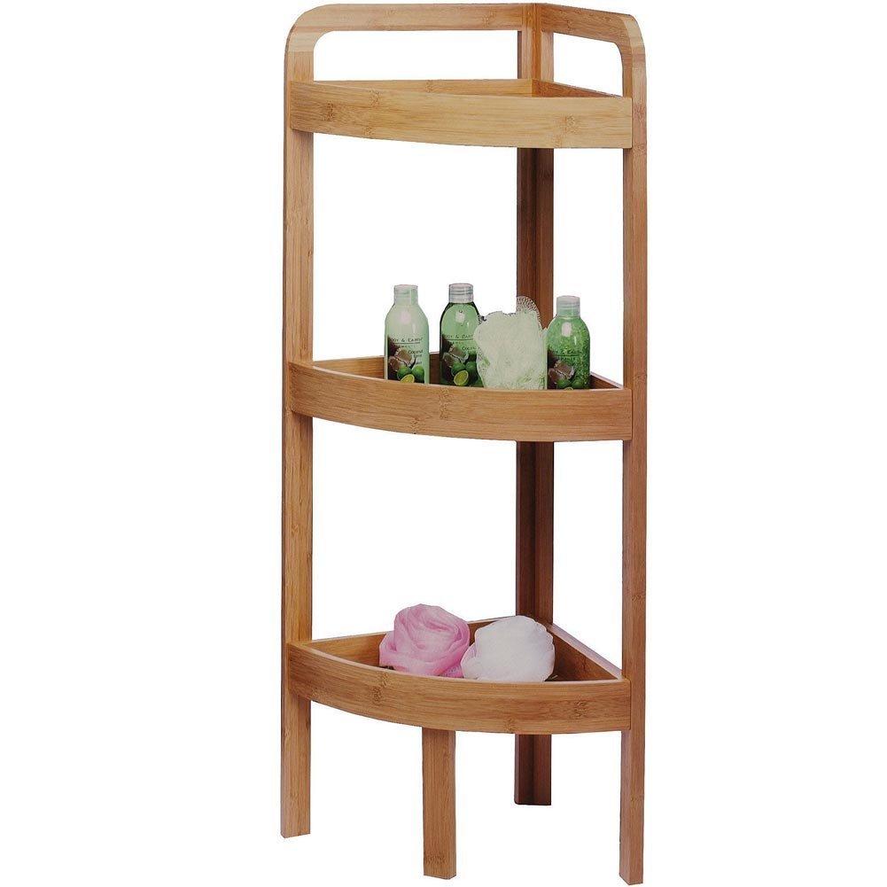 Bamboo bathroom shelf unit - Bamboo Wooden Wood Bathroom Corner Floor Standing Cabinet Amazon Co Uk Kitchen Home