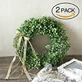 elegantstunning 2PCS/Pack Artificial Plastic Leaf Wreath with Bow Door Hanging Decoration Holiday Festival Wedding Decor, Style A