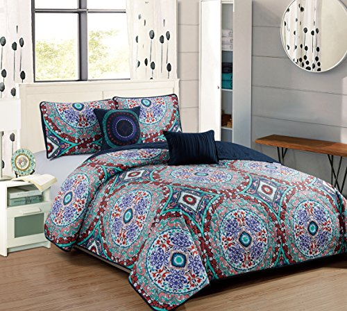 RT Designers Collection Odyssey Five-Piece Quilt Set, Queen Bedding,