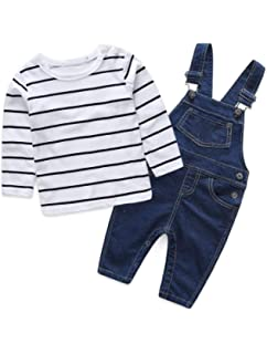 Abolai Cute Baby Boys Clothes Toddler Jumpsuit Rompers Jean Overalls Set with Stripe T-Shirt
