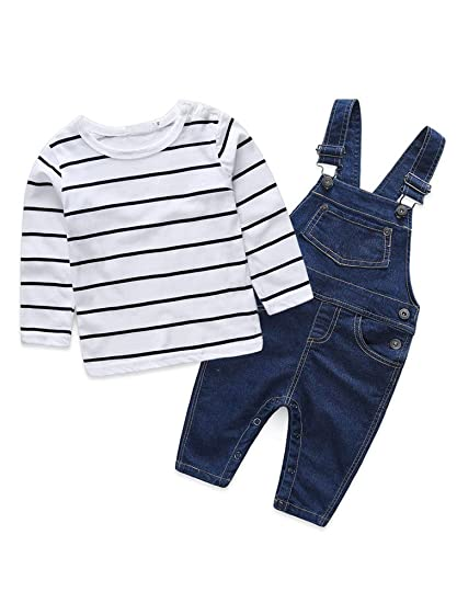 a3045058f3a Abolai Cute Baby Boys Clothes Toddler Jumpsuit Rompers Jean Overalls Set  with Stripe T-Shirt
