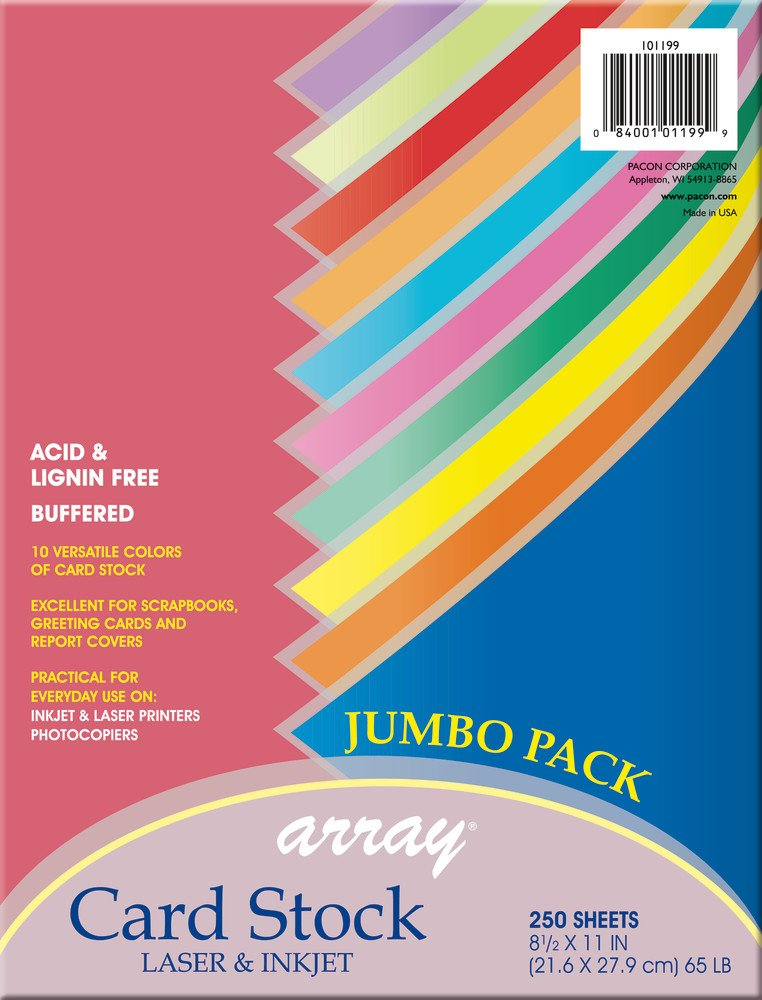 Pacon Card Stock, Colorful Jumbo Assortment, 10 Colors,  8-1/2'' x 11'', 250 Sheets