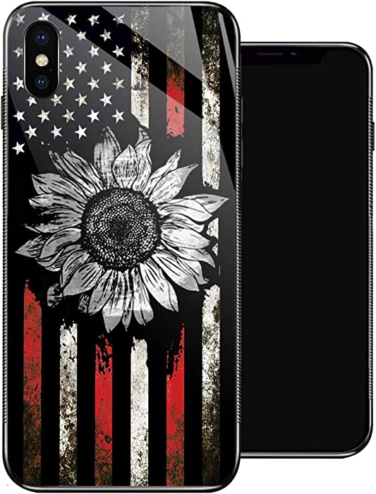 iPhone XR Case, Retro Sunflower Flag iPhone XR Cases for Girls,Non-Slip Pattern Design Back Cover [Shock Absorption] Soft TPU Bumper Frame Support Case for iPhone XR 6.1-inch Black White Red