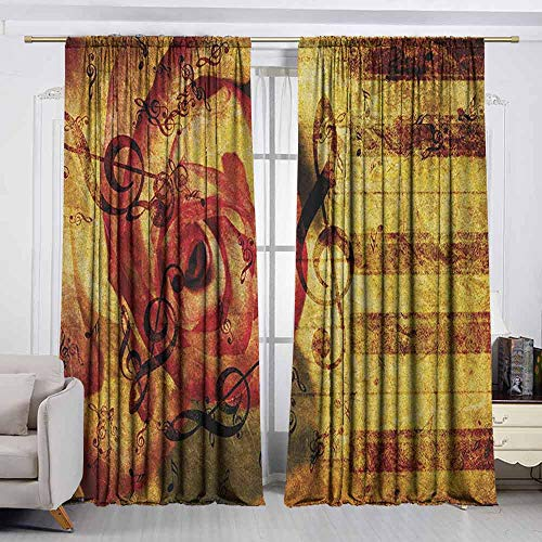 VIVIDX Doorway Curtain,Rose,Vintage Background with Piano Keyboard and Majestic Rose Love Valentines Art Theme,Room Darkening, Noise Reducing,W55x39L Inches Cream Red ()