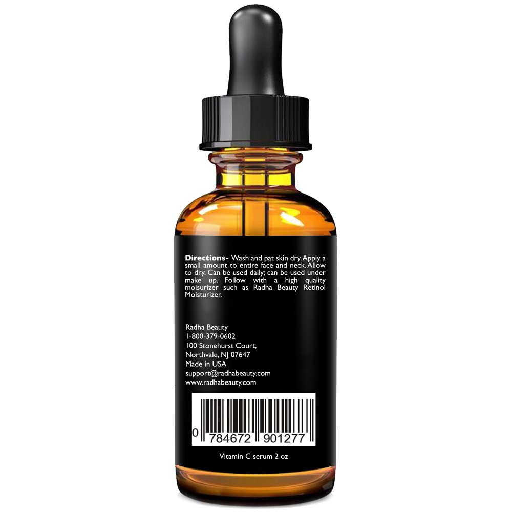 Radha Beauty Vitamin C Serum for Face, 2 fl. oz - 20% Organic Vitamin C + E + Hyaluronic Acid for Anti-Aging, Wrinkles, and Fine Lines - For Radiant and Healthy Skin by Radha Beauty (Image #4)