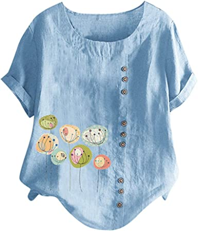 SEWORLD Blusa Top Botón Estampado con Cuello Redondo y Manga Corta Camisa( Naranja, Azul, Blanco,M/L/XL//XXL/XXXL/XXXXL/XXXXXL): Amazon.es: Ropa y accesorios