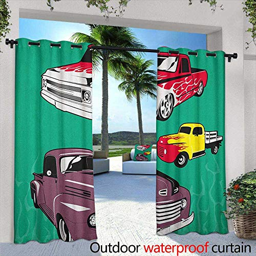 Truck Curtains for Living Room Colorful Vintage Pickups and Flatbed Flame Motif in The Hood Retro Vehicle Design Great for Living Rooms & Bedrooms 72