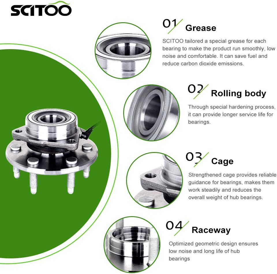 SCITOO Compatible with Fits Express 1500 GMC Savana 1500 Chevrolet Avalanche 1500 Front Wheel Hub Bearing Assembly 4WD W//ABS