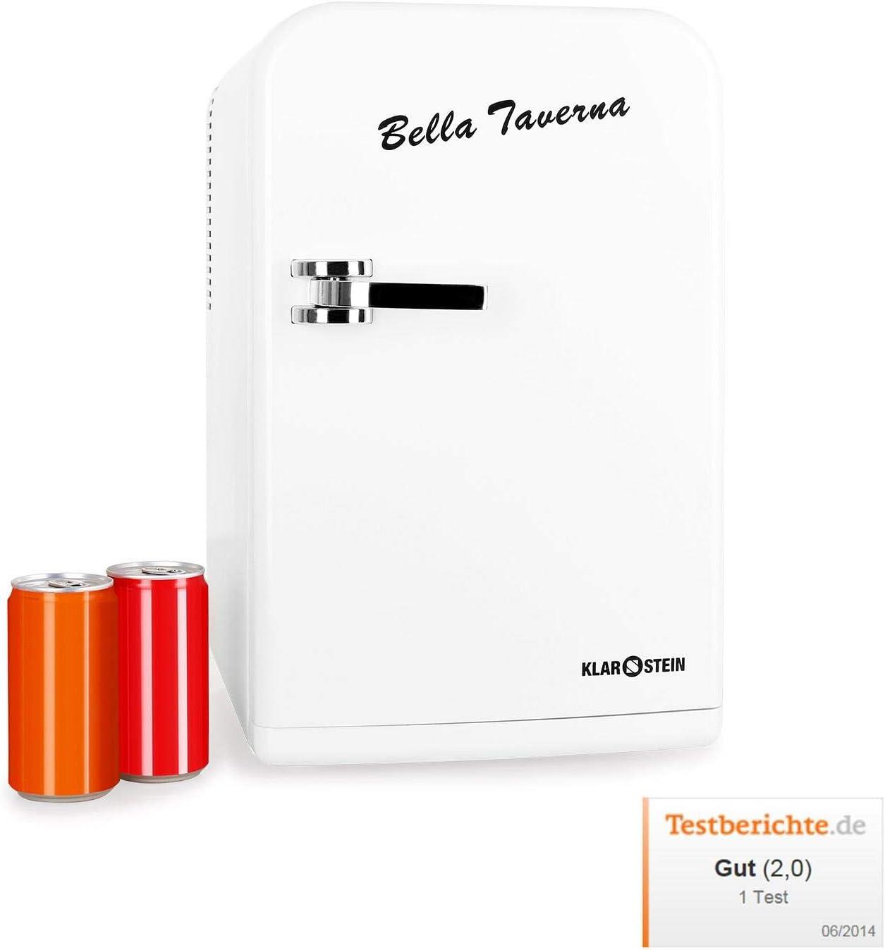 Klarstein Bella Taverna - Mini nevera, 15L, Peso ligero, asa extensible y base, Múltiples usos, 1 estante extraíble, 2 compartimentos en la puerta, Ruido mínimo, Ventilador integrado, Blanco
