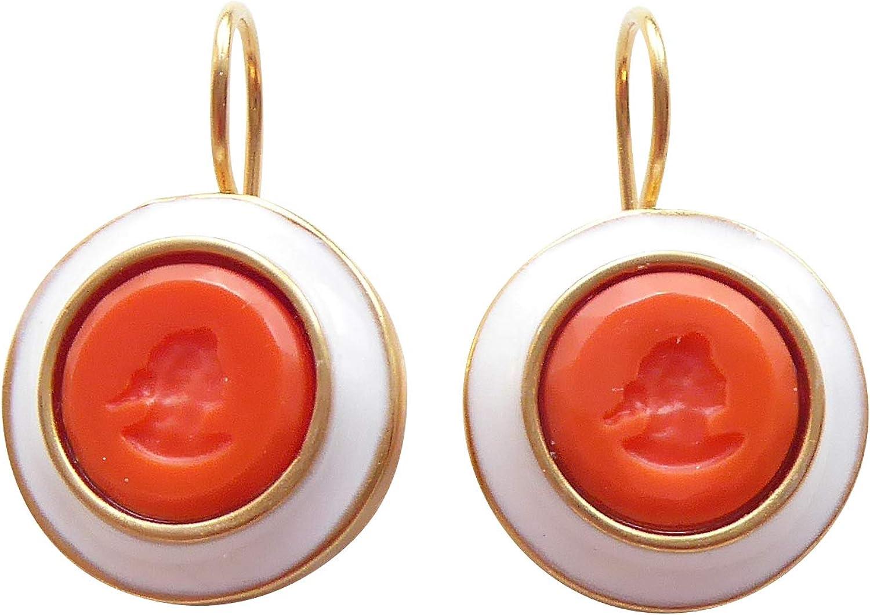Pendientes de piedras naranjas de cristal rojo coral y blanco esmaltado con borde de bronce dorado, hechos a mano, diseño clásico y elegante EXTASIA