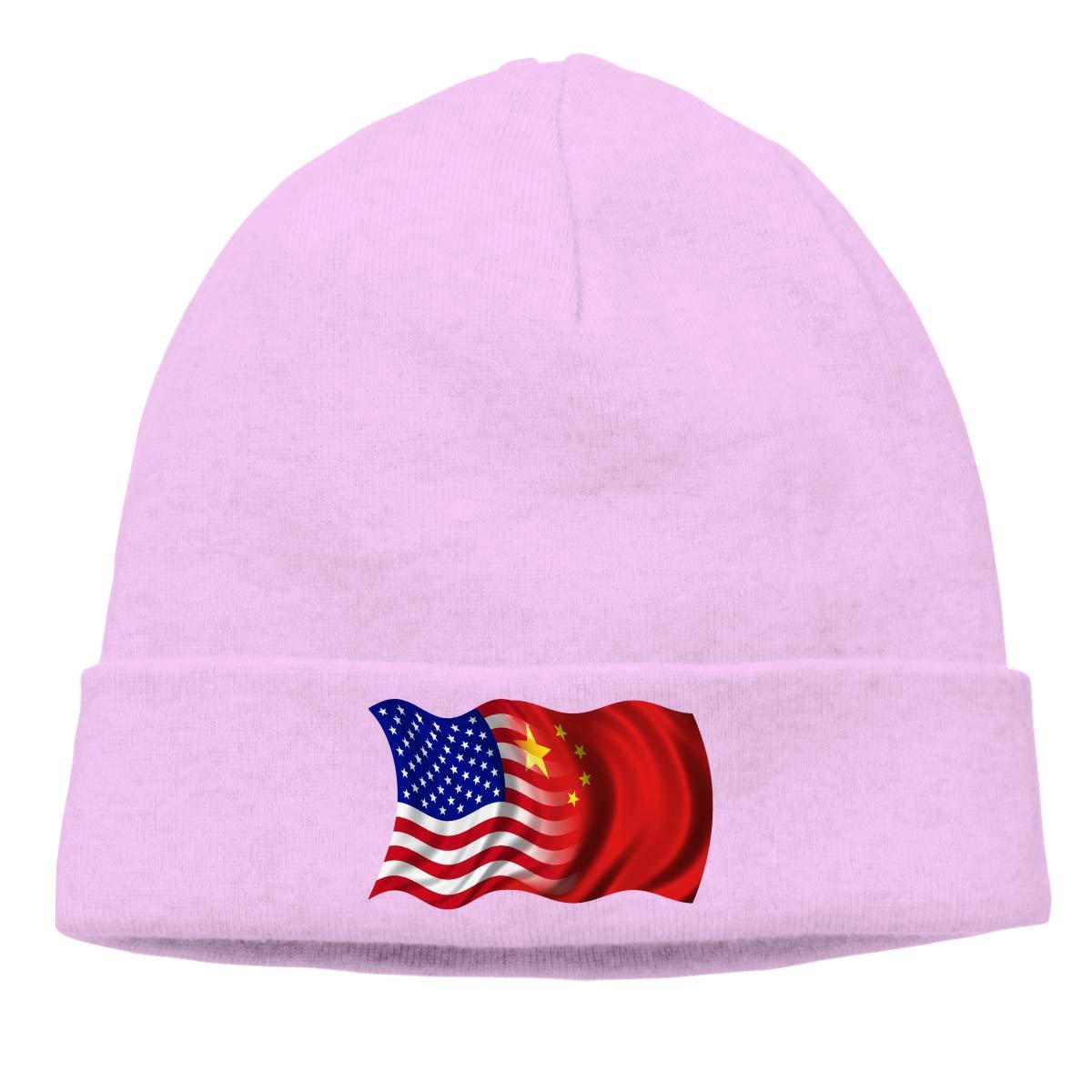 BBlooobow Men Women US-China Flag Soft Knit Caps